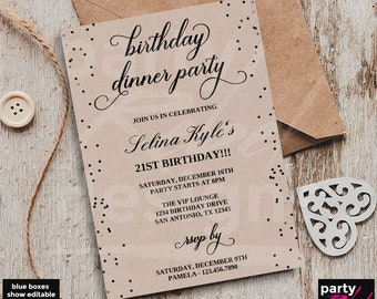 Dinner invitation etsy birthday dinner invitation template birthday party 21st birthday kraft dinner invitation birthday filmwisefo Choice Image