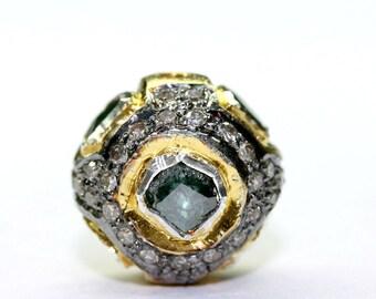Silver Polki with Green Diamonds