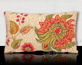 "Pillow ""Mansion"" - tree of life antique flower-stylized ""AZALEAS"" Fuchsia/green Emerald/yellow/green imperial on white background."