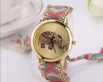 Elephant Watch Braided Band- Animals Wrist Watch