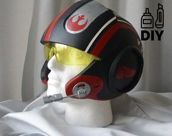 DIY Star Wars: The Force Awakens - Poe Dameron Xwing helmet templates for EVA foam