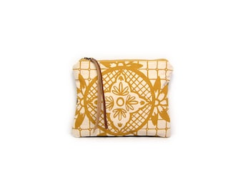 cosmetic pouch • canvas zipper pouch - geometric floral print make up bag • waxed canvas - geometric print • large clutch - make up bag