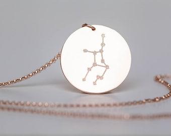 Zodiac Constellation Necklace - Constellation Jewelry - Gold, Rose Gold, or Sterling - Zodiac Jewelry - Custom Engraving - Engraved Jewelry