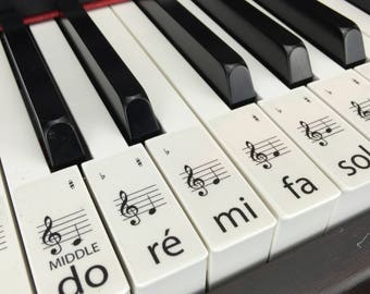 PIANO STICKERS, Learn, Transparent Solfège Keyboard / Piano Stickers Set up to 61 KEYS the best way to learn Piano