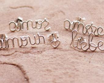Love Around the World, Stud Earrings, Pair with Mini Heart Stud