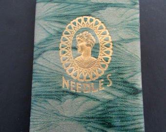 Victorian Needle Case Sewing Kit Dated 1914 Heath & Gills Superfine Needles Czechoslavakia Holland needles