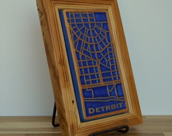 Reclaimed Wooden Framed Pewabic Pottery  Downtown Detroit Map Tile  6404 Woodward Ave