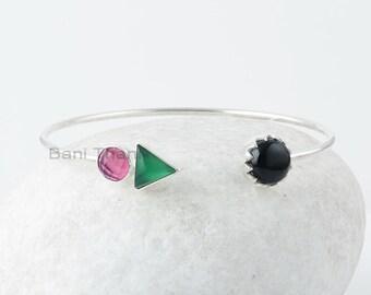 Multi Gemstone Bangle, Pink Tourmaline 7x7mm Round, Green Onyx 8x8mm Triangle, Black Onyx 10x10mm Round Silver Gemstone Bangle, Gift For Her