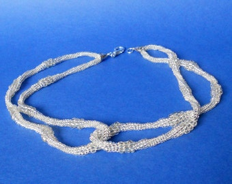 Seed bead Necklaces silver Herringbone Spiral necklace Woven Jewelry Gift for her