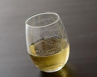 Los Angeles Maps Stemless Wine Glass