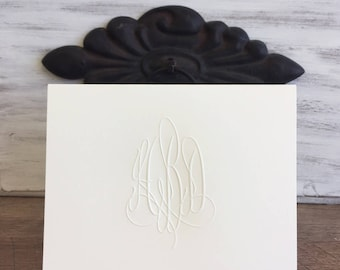 Embossed Monogram Folded 4x5 Notes and Blank Envelopes |  Printed by Darby Cards