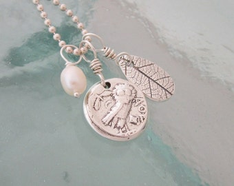 Handcrafted Silver Charm Necklace - Owl, Leaf, Freshwater Pearl