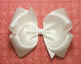 "White Satin Hair Bow, Girls Bows, 6 Inch Satin Bow, Satin Boutique Bow for Flower Girls Weddings, Womens Hair Bow for Girls 60 Colors 6"" Bow"