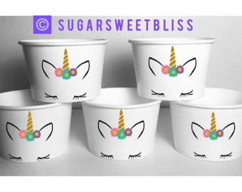 Unicorn Face Party Favors Cups Snack Treat Food Bowl Unicorns Flowers Personalized Customized Birthday