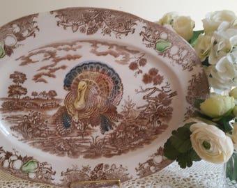 1940s Large Turkey Transferware Platter
