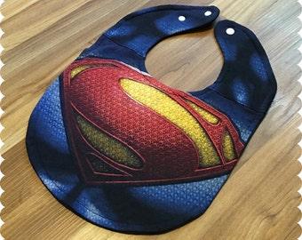 Superman Shield Baby Bib, Recycled T-Shirt Baby Bib, Baby Shower, Baby Boy Gift, Superhero Bib