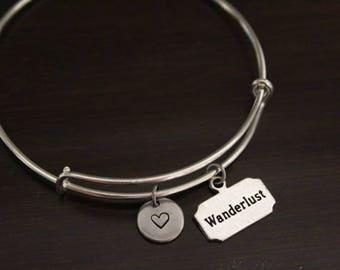 Wanderlust Bangle Bracelet - Traveler Gift - Voyager Gift - Wanderer Gift - Wanderlust Gift - I/B/H