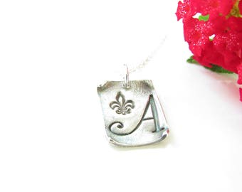 Initial Necklace with Fleur De Lis - Personalized Jewelry - Hand Made from Fine Silver
