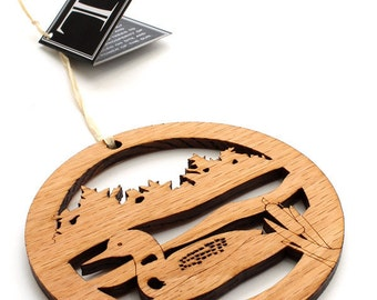 Wood Loon Ornament - Circle of Life Ornament Collection by Timber Green Woods . Sustainable Harvest Wisconsin Wood