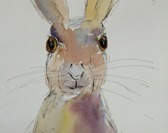 Hare Original Watercolour and Ink Sketch