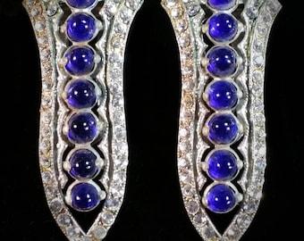 Deco Blue Cabochon and Rhinestone Dress Clip Set
