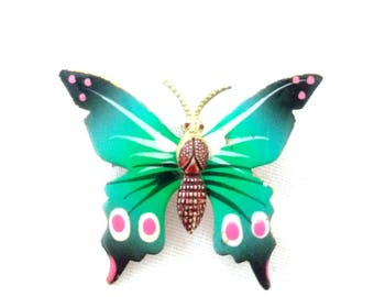 Vintage Butterfly Brooch Bright Colors Made in Korea Blue Pink and Green Women's Pin