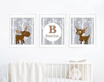 Nursery woodland animals cross stitch pattern, personalized, deer, dear, modern, baby, boy, girl, counted cross stitch, baby shower Gift DIY
