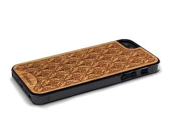 iPhone 5 Case Wood Damask Personalized Custom Name, Wood iPhone SE Case, iPhone 5S Case Wood