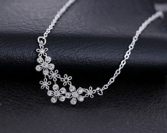 Necklace 925 Silver madder solid flowers Crystal gift women chic minimalist jewelry zircon