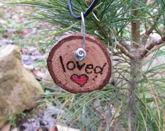 Loved Necklace, Inspirational Necklace, Rustic Wood Slice Necklace, Rustic Necklace, Wood Necklace, Loved Jewelry, Loved Pendant, Loved
