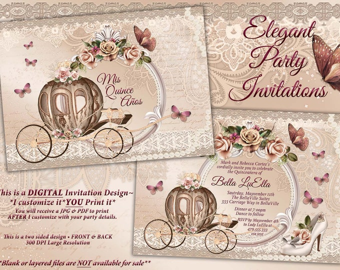 Quinceanera Invitation, CinderBella Sweet 16, Sweet 16 Party Invitations, Princess Invitations, Photo Cards