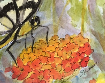 Butterfly Flower Lantana Original Watercolor Small Work Painting 4 x 6 Postcard Card
