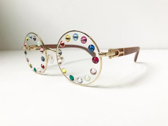 Festival Eyeglasses Frames Multi Colored Rhinestones Clear