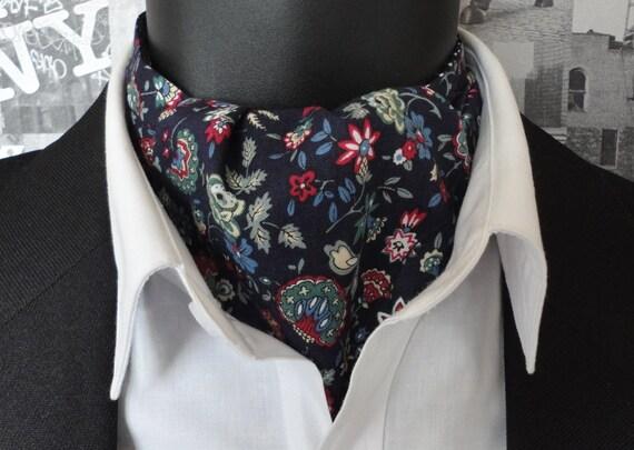 Cravat, Reversible Cravat, Floral Navy Cravat, Spots on Reverse Side
