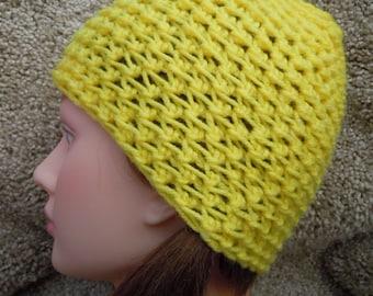 Bright Yellow Skull Cap - Crochet - Children Skull Cap
