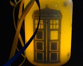 TARDIS Dr Who Light Jar OOAK Tabletop Light BBC
