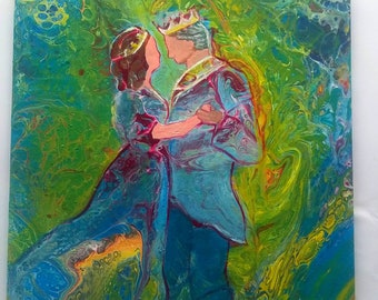 "Embelished Acrylic Pour, Acrylic Painting on Ceramic Tile, King and Queen, Romantic Art, Prophetic Art, Fluid Art, ""Dancing With My King"""
