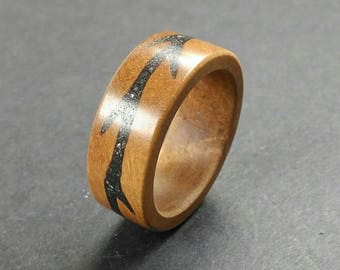 Olive Wood Ring haematite Inlay Handmade Alternative Ring - Size 18.60 mm (USA 8 1/2)