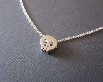 Silver Tiny Skull Necklace