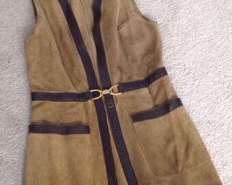Vintage 70s suede leather trim waistcoat mini dress Austin Power Festival Size 8