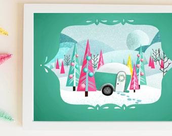 A Mod Christmas// mint trailer// bottle brush christmas print