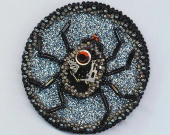 Steampunk Beadwoven Spider . Statement Brooch . Steampunk Quartz Watch . Autumn Fall Halloween - Statement Jewel by enchantedbeads on Etsy