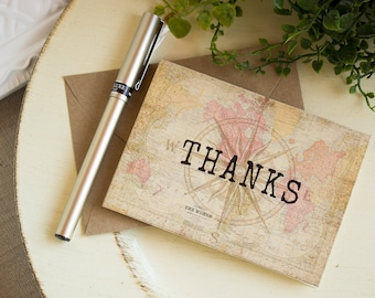 vintage world map thank you note cards - travel thank you card set - destination wedding thank you