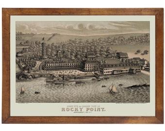 Narragansett, RI [Rocky Point] 1878 Bird's Eye View; 24x36 Print from a Vintage Lithograph