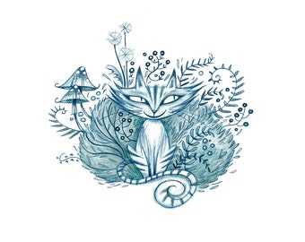 Alice in Wonderland, Cheshire Cat, Art Print from Original Illustration, Illustration Print, Wall Art