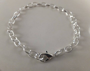"""8"""" Silver Plated Chain Bracelet w/Lobster Clasp"""