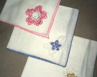 Set of 3 Vintage and Dainty Women's Handkerchiefs - Hankies - Hanky