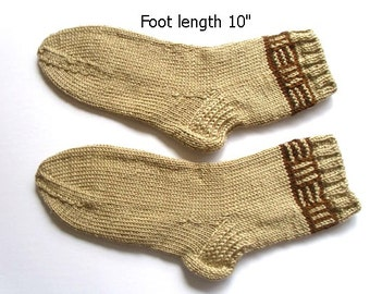 "Socks hand knit. Foot length 10"". Slipper socks. Hand knit.  Ready to ship."