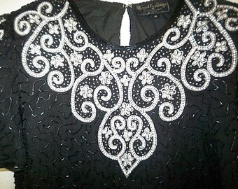 Vintage black sequin and white pearl GLAMOUR evening top sz M