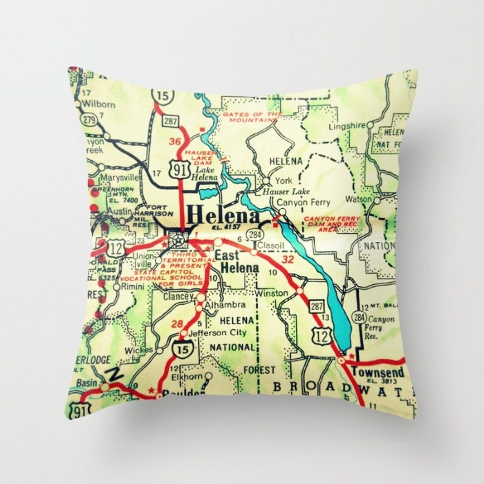 Montana Pillow Cover Custom Montana Map Pillow Montana Gifts